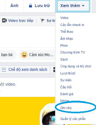 bước 1 cách tạo ghi chú trên facebook