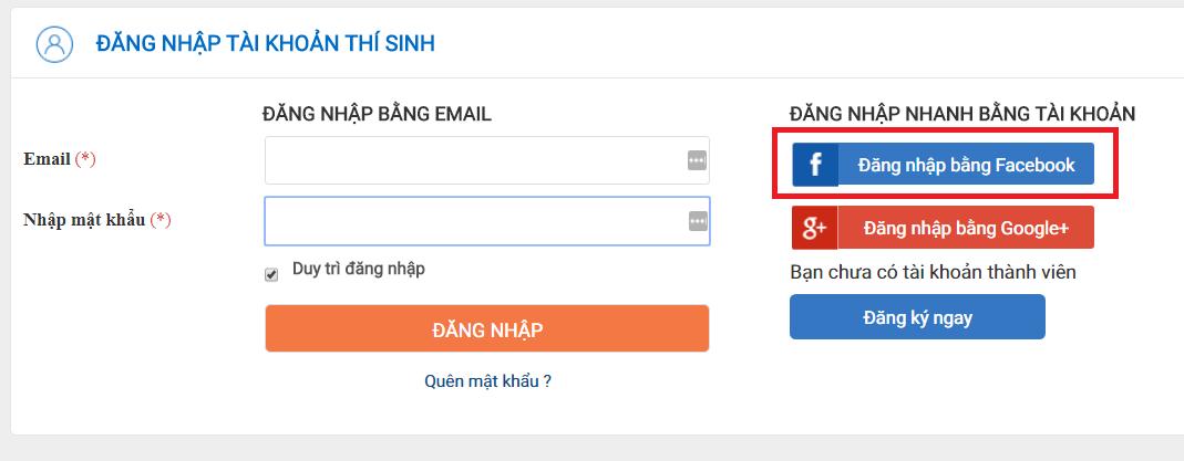 đăng nhập website bằng facebook app