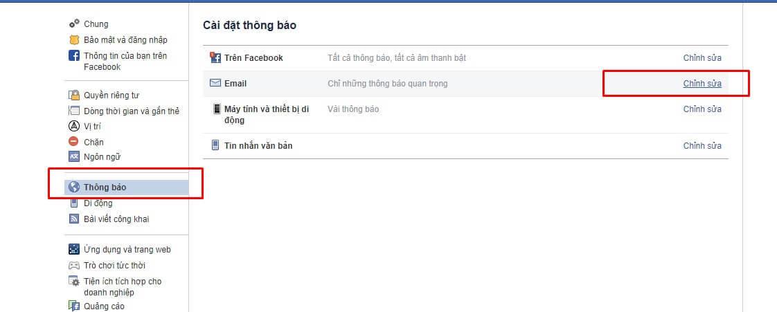 cài đặt thông báo facebook