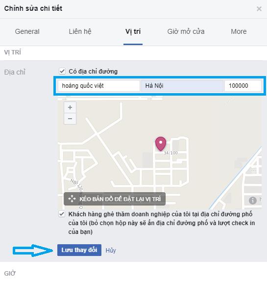tạo điểm check in trên fanpage facebook