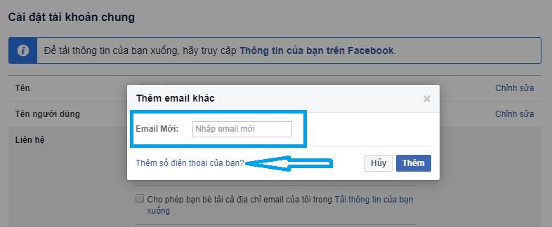 thêm email, số điện thoại, cách bảo mật facebook