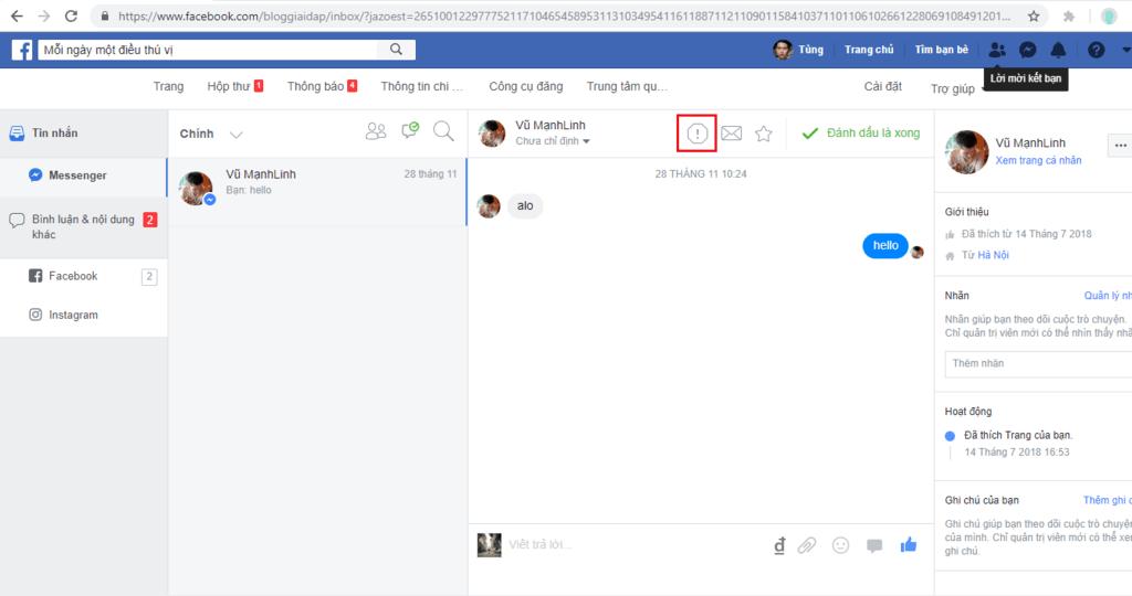 Cách xóa tin nhắn trên fanpage